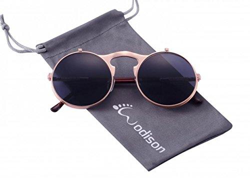 WODISON Steampunk Style Sonnenbrille Flip up runde Linse für Männer Frauen mit Tasche (Rose Gold Frame Grau Linse)