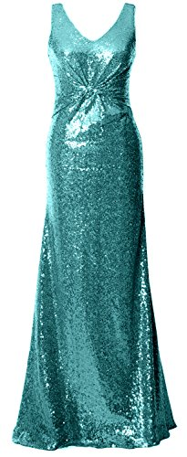 MACloth Gorgeous V Neck Long Bridesmaid Dress Straps Sequin Evening Formal Gown Turquoise