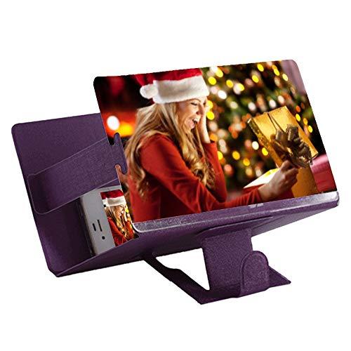 HD-Bildschirm-Vergrößerungsglas-Film-Verstärker, Telefon 3D-Filmvideo-Strahlenschutzvergrößerungsbildschirm (Farbe : Purple)