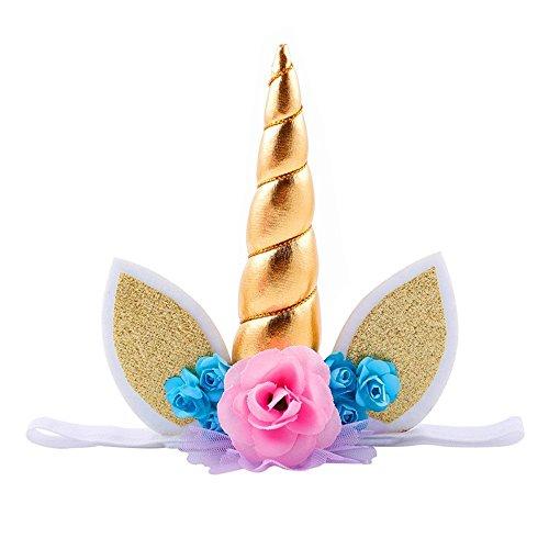 Rainbow Fox Halloween Einhorn Stirnband Mädchen Haarband Prinzessin Rose Blume Kopfbedeckung Weihnachten Party Kopfschmuck (Gold)