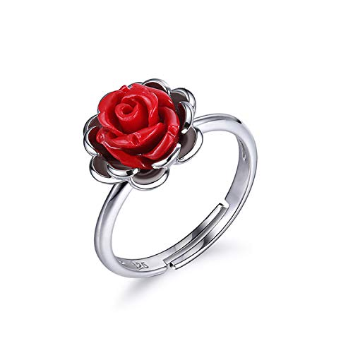 Yanglan s925 sterling silver rose opening ring, gioielli da donna