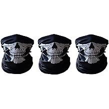 Leeko 3pcs máscara facial resistente del cráneo de la máscara protectora del polvo de la máscara de la bufanda del poliester del cuello de la cara para las snowboards del motorista de la motocicleta (ejercito verde)
