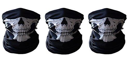 3 Stücke Dehnbare Röhrenschädel-Gesichtsmaske-schützende Staub-Maske Polyester-Schal-Gesichtsansatz-Wärmer für Motorrad-Radfahrer-Snowboards (Schwarz)