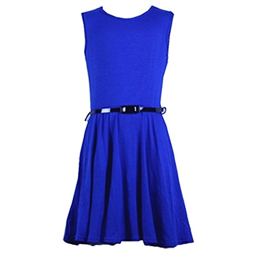 new-girls-plain-skater-dress-kids-party-dresses-with-free-belt-age-7-8-9-10-11-12-13-year-7-8-royal