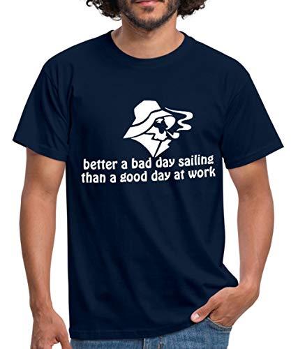 Spreadshirt Segel Spruch Sailing Segeln Spruch Männer T-Shirt, XL, Navy -