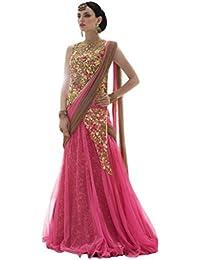 Shree Rang Creation Women's Pink Net Semistitched Lehenga Choli(AFL-03_Pink_Free Size)