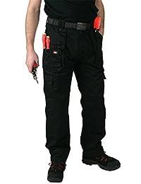 Lee Cooper Cargohosen viele Taschen mit Kniepolster Taschen Schwarz 76,2 cm-106,7 cm