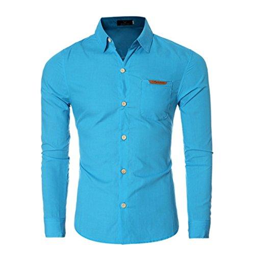 Men's Chemise Homme Long Sleeve Slim Fit Shirts Dark Blue