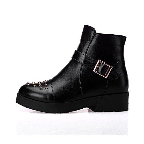 YE Damen Herbst Plateau Stiefeletten mit Blockabsatz Nieten Schnallen Reißverschluss Short Ankle Boots Schuhe Schwarz