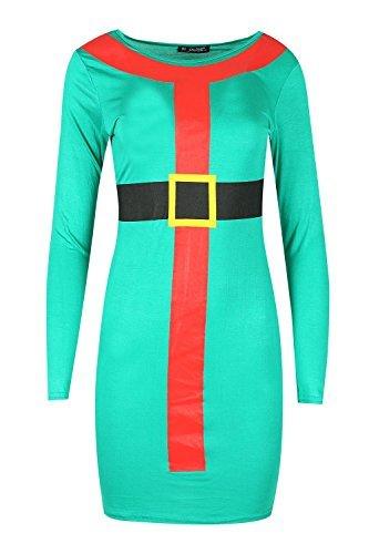 Be Jealous Damen Langärmlig Santa Fest Bodycon Weihnachten Kostüm Minikleid Uk Plus Size 8-22 - Grün, S/M (36/38)