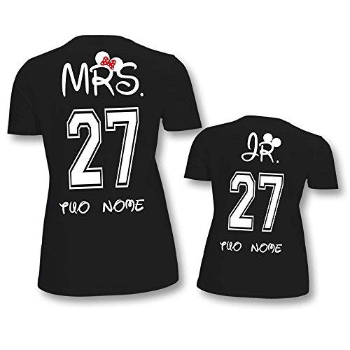 Coppia Di T Shirt Donna Bambino Festa Della Mamma Mr and Mrs Personalizzate con Nome T-Shirt Nere Mamma e Maschietto
