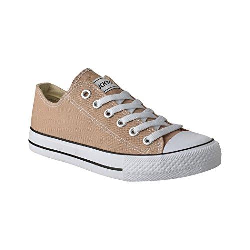 Lucky-Z Unisex Sneaker | Bequeme Sportschuhe für Herren und Damen | Low top Turnschuh Textil Chunkyrayan 089-A-Khaki-42