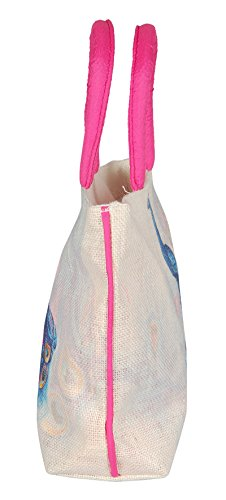 Sac à main de sac à main de plage de sac à main d'épaule de paon de sac de dames de jute de coton Blanc et rose