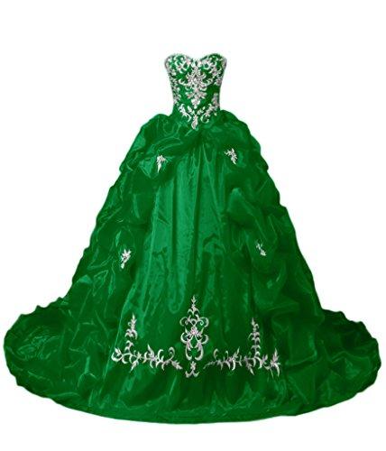 Sunvary Gorgeous A-Line strass Sweetheart Quinceanera satinato, Gowns-Cartamodello per abiti da ballo. Green