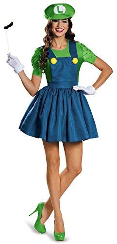 thematys Super Mario Luigi Mütze + Kleid + Bart + Handschuhe - Kostüm-Set für Damen - perfekt für Fasching, Karneval & Cosplay (M, 160-165cm Körpergröße)
