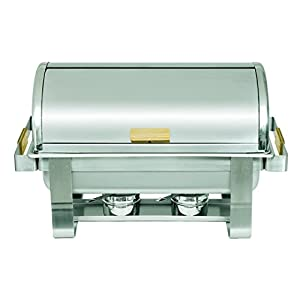 Update International (RTC-8) 8 Qt Stainless Steel Rectangular Gold-Accented Roll-Top Chafer by Update International