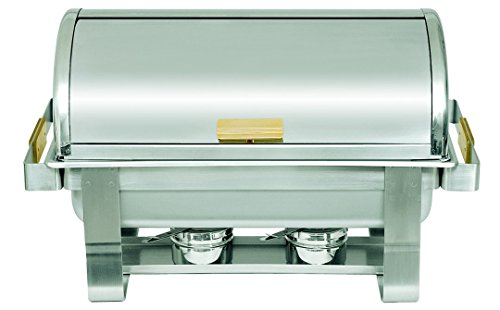 Update International (RTC-8) 8 Qt Stainless Steel Rectangular Gold-Accented Roll-Top Chafer by Update International Roll Top Chafer
