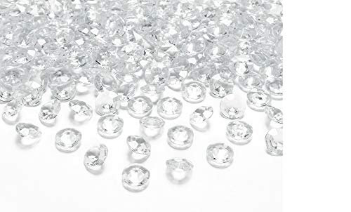 100 Stk Deko Diamanten Acryl Tischschmuck Hochzeit Dekosteine Klar Kristall-Acryl-Diamanten transparent 1,2cm Deko Diamant Acryl klar  Tischdeko Tautropfen Steine Dekoration Streuteile Hochzeitsdeko