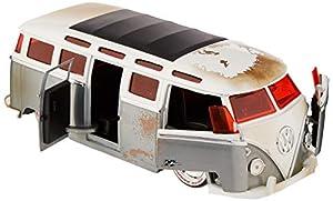 Dickie Toys 253745010 1962 - Vehículo de Carreras con Rueda Libre para Volkswagen Bus, Wave 3, Jada Toys 20 años de Aniversario, Metal Plateado Cepillado