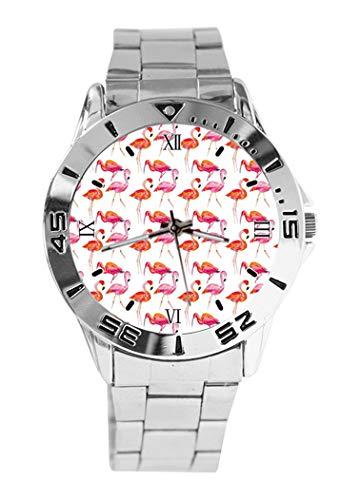 Kate Spade Flamingo Reloj de Pulsera analógico con diseño de Verano Rosa y Esfera Plateada de Cuarzo, Correa clásica de Acero Inoxidable para Hombre y Mujer