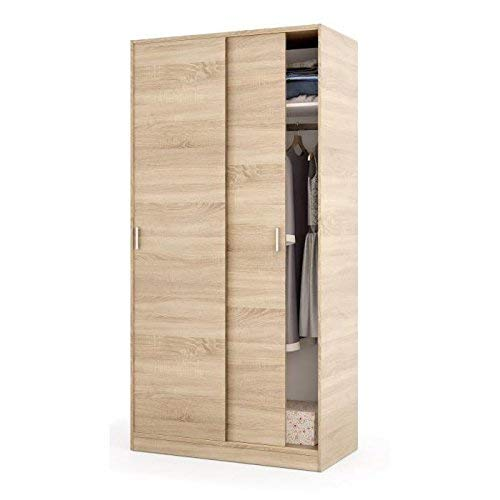 Habitdesign MAX019F - Armario Dos Puertas correderas, Color Roble Canadian, Medidas: 100x200x50 cm de Fondo