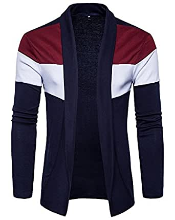 PAUSE Men's Solid Cotton Long Sleeve Round Neck Regular-Fit Shrug (Small,Navy,PASRG03181189-BLU-S)