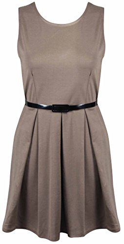 Purple Hanger - Damen Kleid Ärmelloses Einfarbig Plissiertes Mini Kleid Mit Gürtel Skater Kleid Mokka