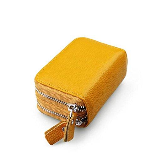 DcSpring RFID Schutz Damen Kreditkartenhülle Herren Kreditkartenetui Echtes Leder Geldbörse Kleine Portemonnaie mit 2 Reißverschluss (Gelb)