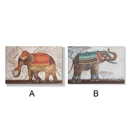 Cuadro elefantes con lentejuelas (90x60x2.8 cm) - B
