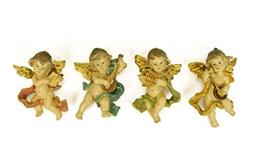 4 Figuras Decorativas Religiosas Pared 'Ángel Músico'. 6 x 3 x 10 cm