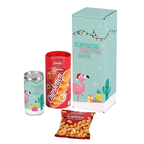 Herz & Heim® Snack Geschenkset mit Erdnüssen, Chipsletten und einem Secco in einer Geschenkbox - individuell mit Ihrem Wunschnamen Flamazing Christmas