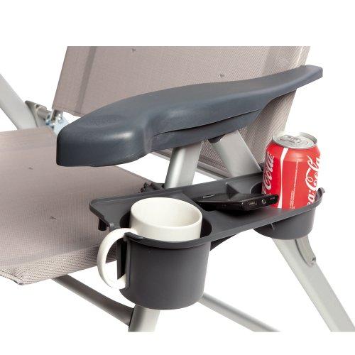Hummelladen Bocamp-Holland Getränkehalter für Klappstühle, 3 Ablagefächer, grau, belastbar: Ablage für Camping Stuhl Flaschenhalter Dosenhalter Becherhalter