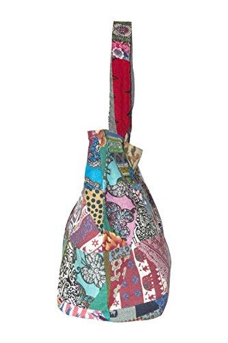 YuanDian Rétro national Wind Impression Épissure Denim Shopping Sac Femmes Sac Épaule Messenger Sac à Bandoulière Haute Capacité Rouge