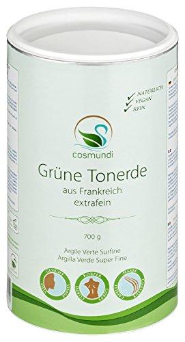 cosmundi Grüne Tonerde aus Frankreich extrafein 700 g für Gesichtsmasken Peelings und Haarwäsche Grüne Gesichtsmaske