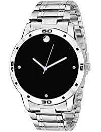 Snapcrowd Exclusive Stylish Stainless Steel Body Black Dial Analog Watch For Men & Boys