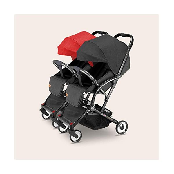 Ultralight Double Baby Stroller,Twin Detachable Reversible Infant Carriage Easy Folding Baby Stroller with Side by Side Twin Seats-a Baby Care Lightweight:This Stroller Features An Aluminum Frame.weighs 25.0 Pounds.storage Bin Provides Plenty Of Room For Toys,Snacks,Etc. Double Stroller Features 1680d Fabric That Is Durable And Water resistant. Recommended Use:Each Seat Holds Up To 40 Pounds (80 Pounds Total).Canopies Feature Pop Out Spf 50 Sun Visors To Shield Little ones. SMOOTH RIDE:7 inch swivel lock front wheels (Unlock for easy maneuverability;lock for added stability on bumpy surfaces).10 inch back wheels with suspension for a smooth,Comfortable ride.One step back break lock.Fits through standard 30 inch doorways. 1