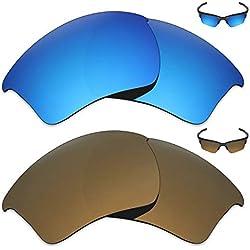 Mryok 2 Paar polarisierte Ersatzgläser für Oakley Half Jacket 2.0 XL Sonnenbrille - Optionen, Ice Blue & Bronze Gold, Einheitsgröße