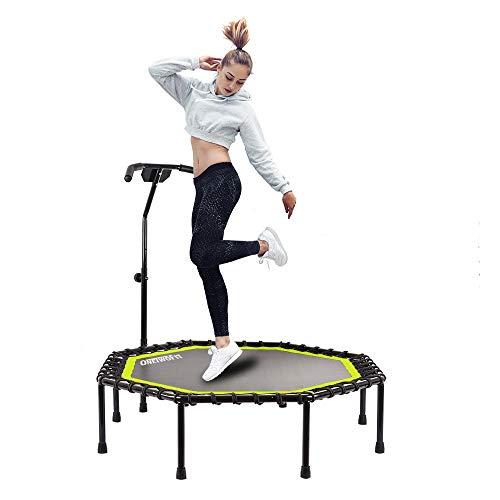 ONETWOFIT 130 cm Durchmesser Leises Trampolin mit höhenverstellbarem Haltegriff, Fitness-Trampolin Training wie im Fitness-Studio Trainer Workout für Erwachsene OT105