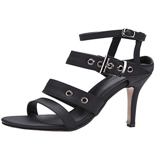 Oasap Damen Offen Slingback High Heels Sandalen Black