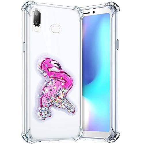 Robinsoni Funda Compatible con Samsung Galaxy A6S Funda Silicona Carcasa Glitter Liquida Carcasa Gel Goma Funda Bumper 3D Suave Case Flexible Ultra Suave Brillante Carcasa Funda Azul