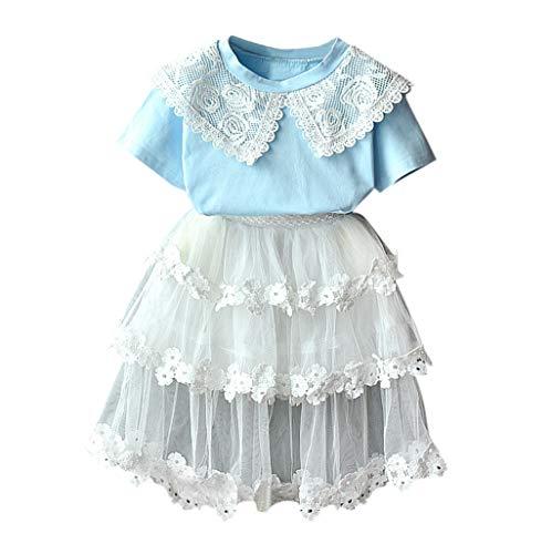 Bekleidungsset Kinder Kleinkind Outfits Kleidung Spitze Puppe Kragen t-Shirt + tüll Rock Set - 40 Blend Chino Rock