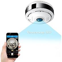 Caméra Sécurité Wifi 960P FREDI IP, Caméra de Surveillance Panoramique 360 Degrés,Caméra Sans Fil Détecteur de Mouvement Infrarouge à Vision Nocturne, Babyphone Bidirectionnel (EC6)