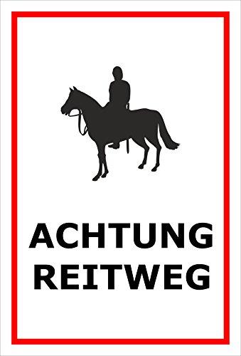 Schild Achtung Vorsicht Reitweg Reiter Reiten Pferd – 15x20cm, 30x20cm und 45x30cm - Aufkleber Hartschaum Aluverbund -S32B
