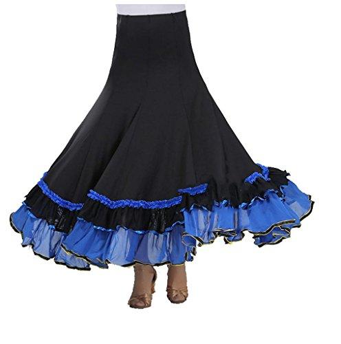 Wgwioo Frauen Rock Langes Swing Kleid Modern Waltz Tango Standard Ballroom Kleid Flounce Röcke Skater Rock Waltz Wettbewerb Party . Deep Blue . F (Länge Waltz Kleid)
