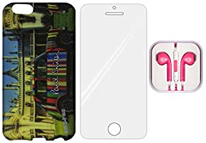 3-in-1 Mobile Back Cover, Tempered Glass and Earphone for Apple iPhone 6 - ZT0184
