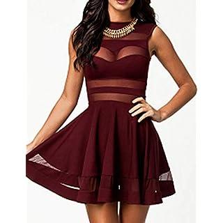 Zeagoo Damen Sexy Kleider Party Kleid Elegant Weinrot L
