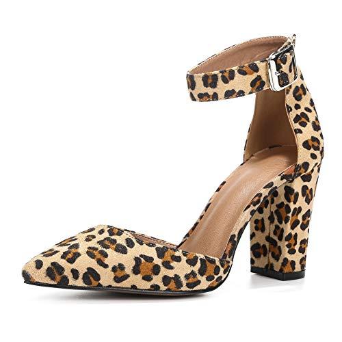 LIURUIJIA D'Orsay Zapatos De Vestir, Tacón Alto Y Grueso, Puntiaguda, con Correa para El Tobillo Ajustable, para Mujer. Terciopelo Leopardo-CN41/EU40