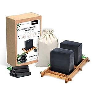 2 pastillas de jabón de carbón de bambú hecho a mano, jabón facial, para todo tipo de pieles, bueno para el eccema del…