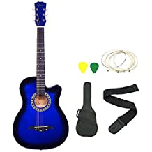 Zabel Elletra Series Acoustic Guitar With Truss Rod,Blue Combo With Bag, Strap, One Pack Strings And Picks