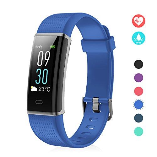 EFO SHM Fitness Tracker mit Pulsmesser, Schrittzähler Uhr Fitness Armband Wasserdicht Schwimmen Aktivitätstracker Schlafanalyse Kalorienzähler Anruf/SMS Kompatibel mit iPhone und Android(Blau)